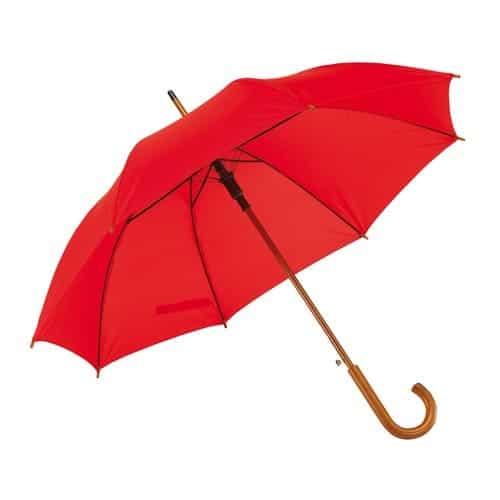 Rød paraply træskaft - Køb paraply online 159 Kr her - Buddy