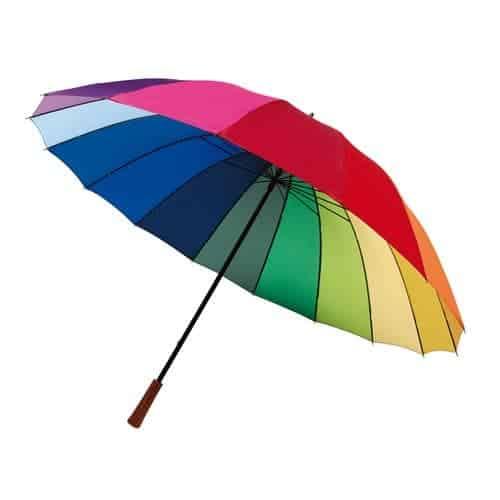 Stor regnbue paraply - 16 glasfiber ribs kun 169 Kr