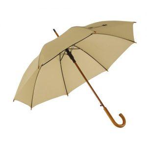 beige paraply træhåndtag