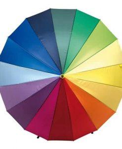 Flere farvede paraplyer
