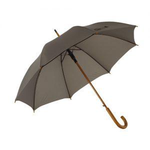 grå paraply træhåndtag