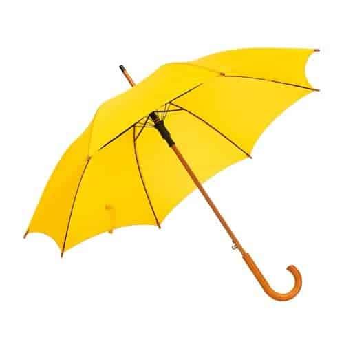 Gul paraply træhåndtag kun 159 Kr her - Gratis fragt  - Buddy