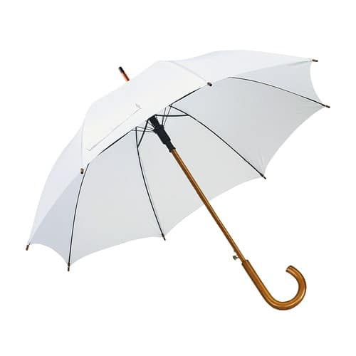 Hvid paraply træhåndtag vælg 8 forskellige her - Buddy