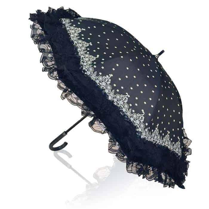 Retro Klassisk Paraply med flæser og pynt