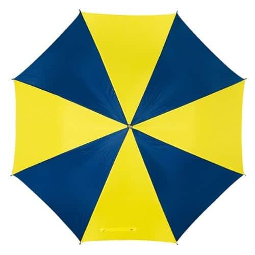 Billig gul & blå paraply stor diameter på 103 cm - Disco