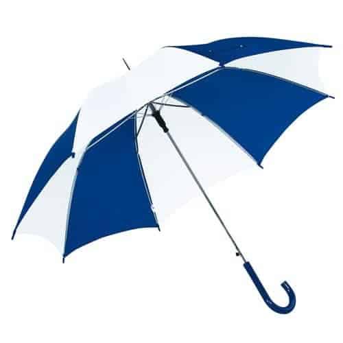 Hvid & blå paraply diameter 103 cm buet håndtag - Disco
