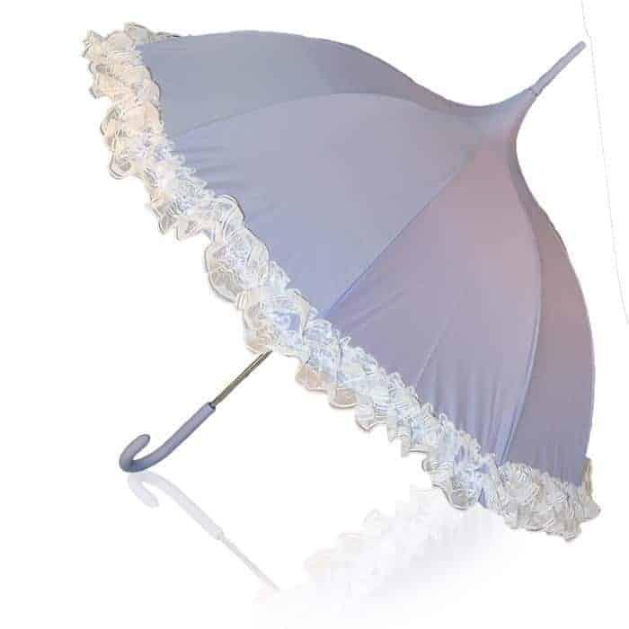 Køb Prinsesse paraply lilla paraply med lyse blonder