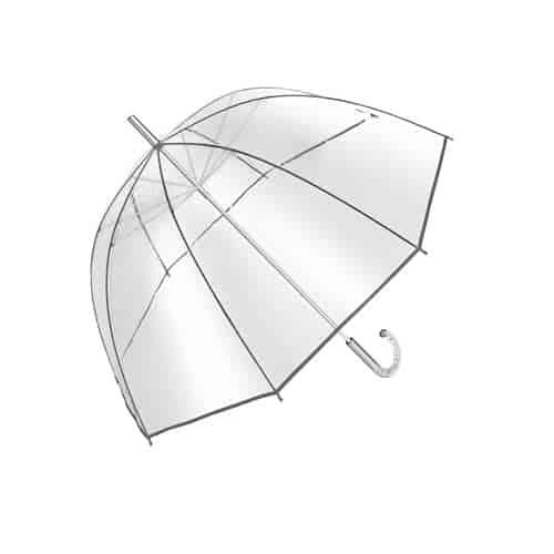 Stor gennemsigtig paraply med buet håndtag gratis fragt