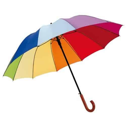 Stok regnbueparaply med mørkt træhåndtag fragt 0 kr.
