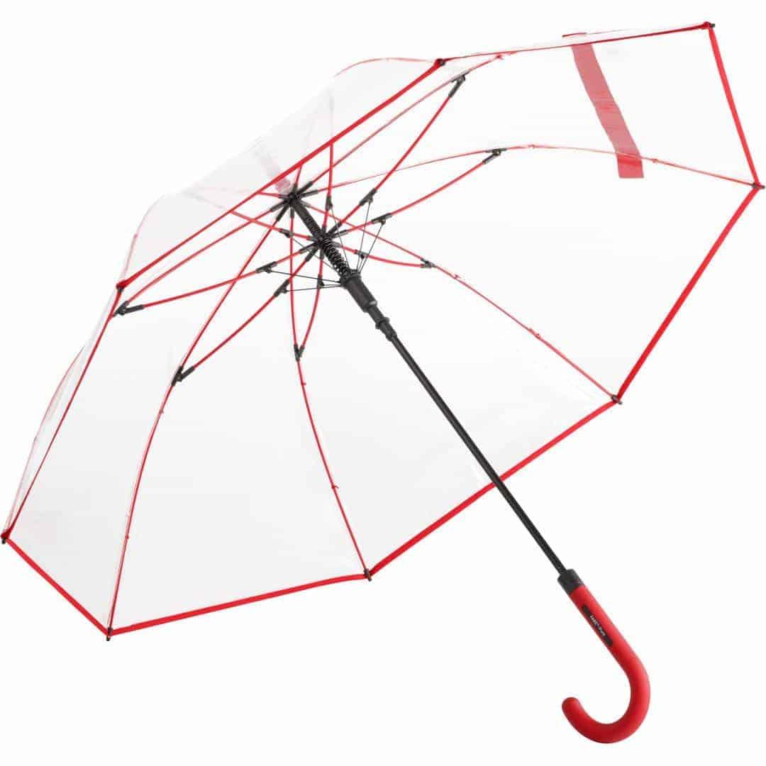Gennemsigtig rød paraply stor diameter - Nevada