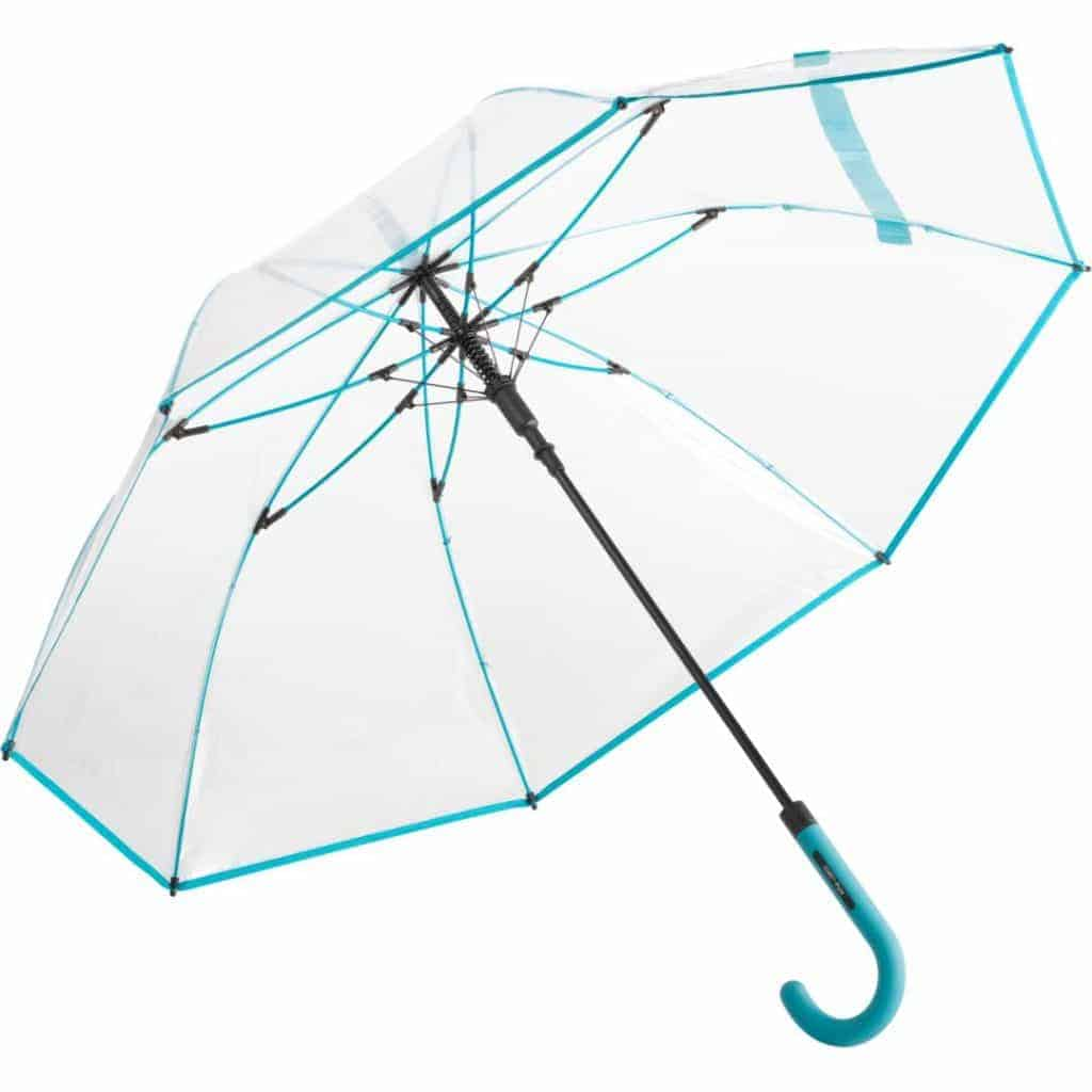 transparent og petrol farvede paraplyer