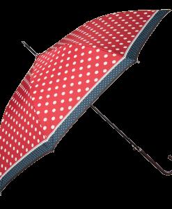 rød paraply med prikker