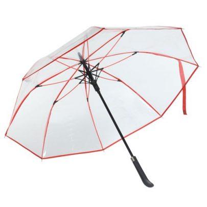 transparent paraply rød